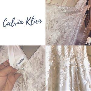 Calvin Klein White 3D Floral Dress